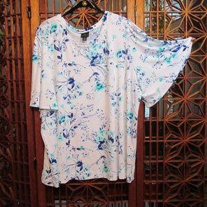 Worthington white floral print top